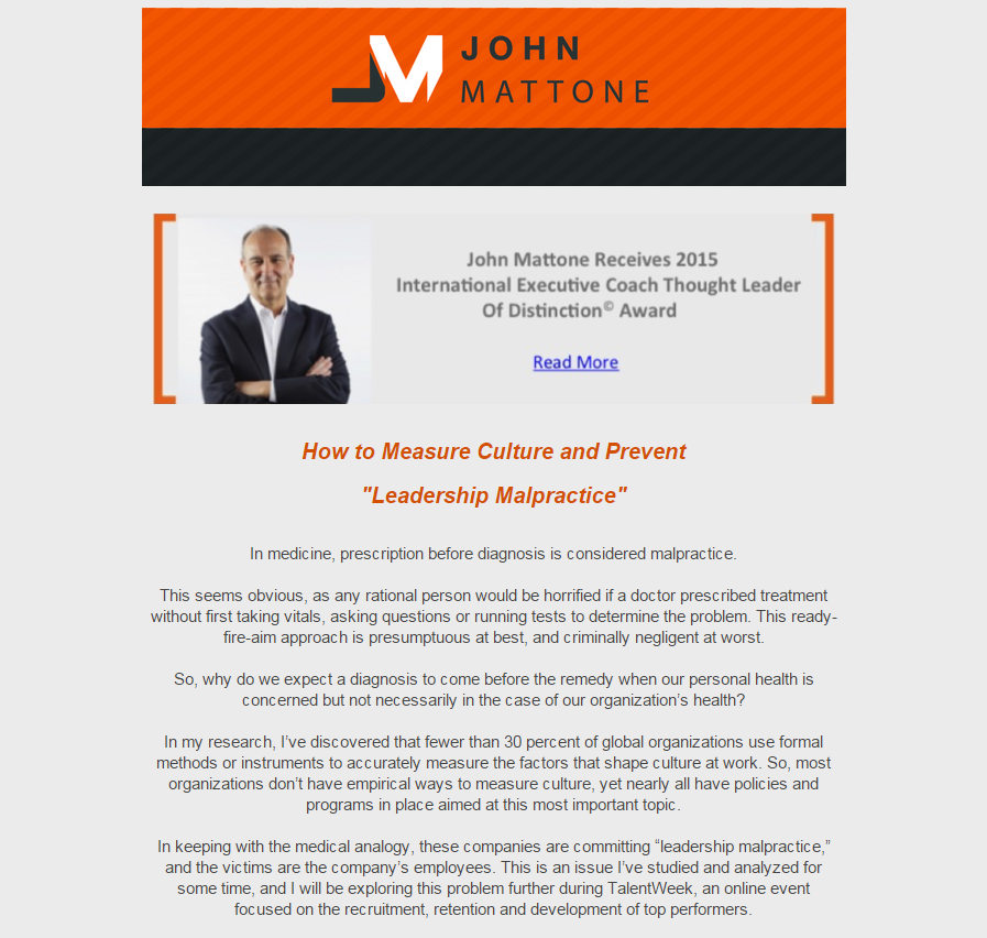 September 2015 Newsletter | John Mattone